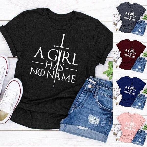 WEPBEL Moda A Menina Não Tem Nenhum Nome das Mulheres Graphic Tees Camisa Casa de Arya Stark Game of Thrones Mãe de dragões T-Shirt