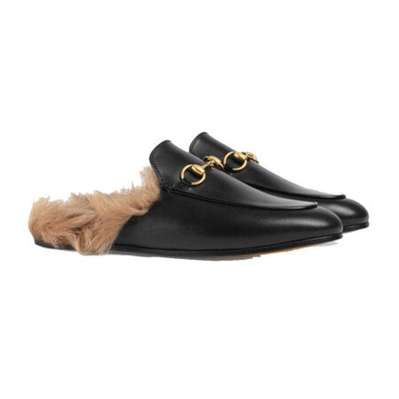 Top di Lusso di Qualità di Marca Pantofole di Pelle Femminile Nero della Pelle Scamosciata Delle Donne Scarpe Metà Piatto Scarpe di Lana Pantofole Inverno Vera Pelliccia Pantofole