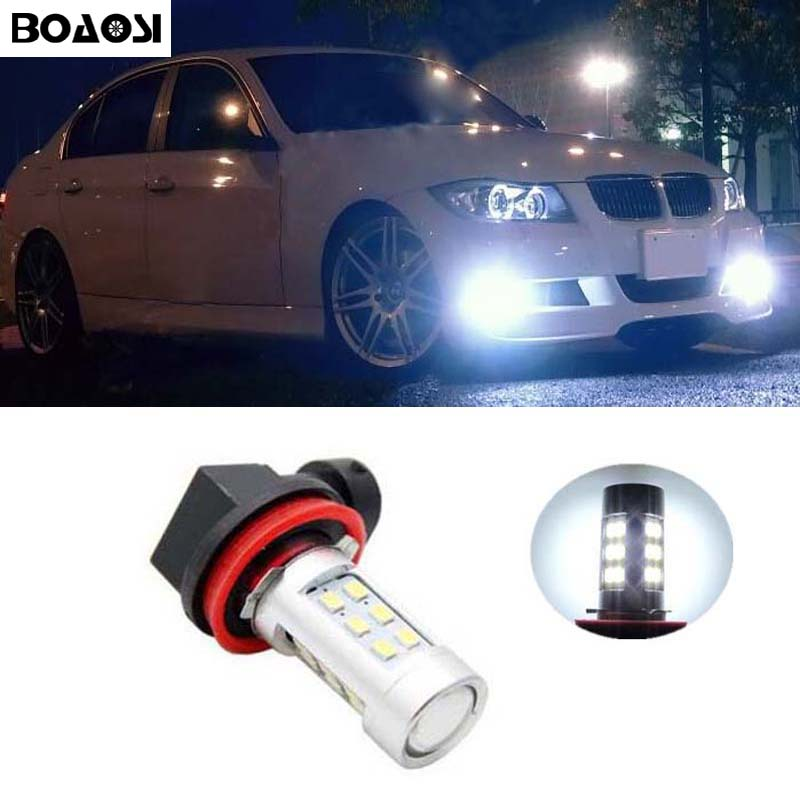 BOAOSI 2x 9006/HB4 LED canbus 2835SMD Bulbs Reflector Mirror Design For Fog Lights For BMW E63 E64 E46 330ci Car Styling boaosi 1x h11 led canbus 5630 33 smd bulbs reflector mirror design for fog lights no error for audi a3 a4 a5 s5 a6 q5 q7 tt