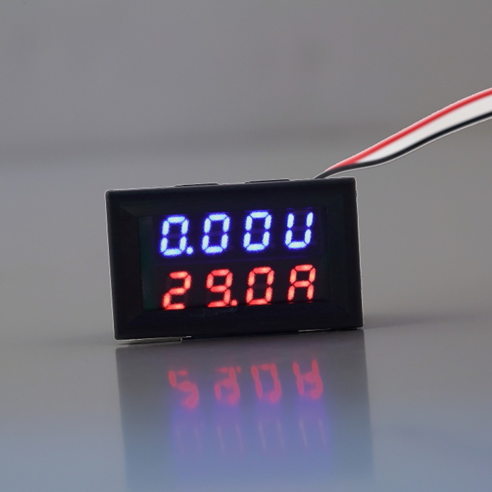 0-100V 10A Red Blue LED DC Dual Display Voltage Meter Digital LED Voltmeter Ammeter Panel Amp Volt Gauge Wholesale