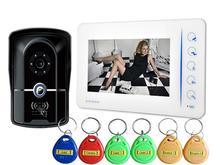 7 Pulgadas de Seguridad Para el Hogar Videoportero Inteligente Con La Tarjeta De Acceso RFID Teclado Cámara Al Aire Libre Con Función 4CH-Monitor