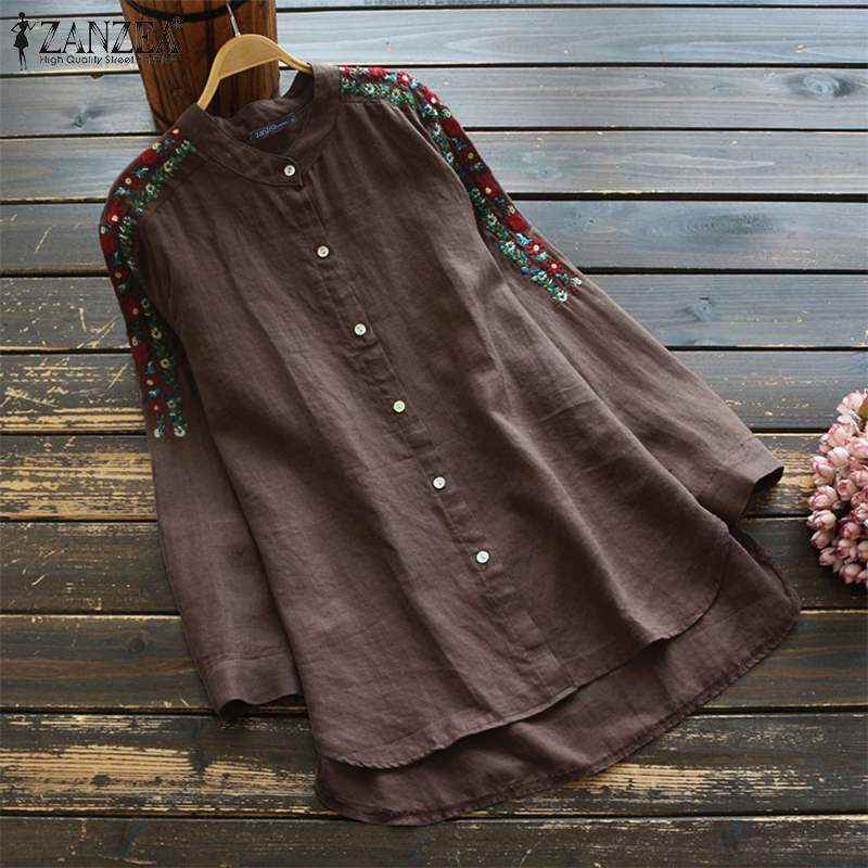 2019 Elegant Work OL   Blouse   ZANZEA Autumn Solid   Shirt   Vestido Casual Long Sleeve Tunic Tops Women Cotton Blusas Female Chemise