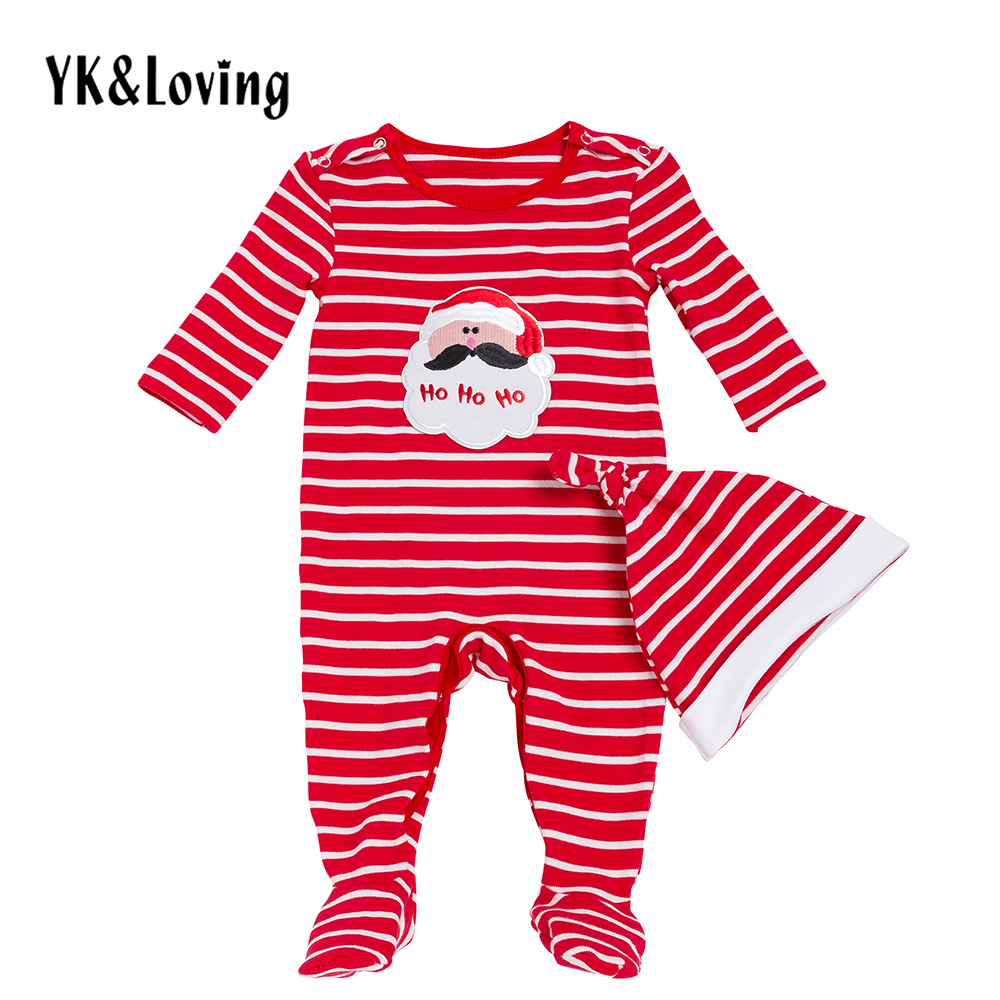 Spring Striped Baby Boy Clothes Set Infant Toddler Christmas Bodysuit Hat 2 pcs Clothing For 0