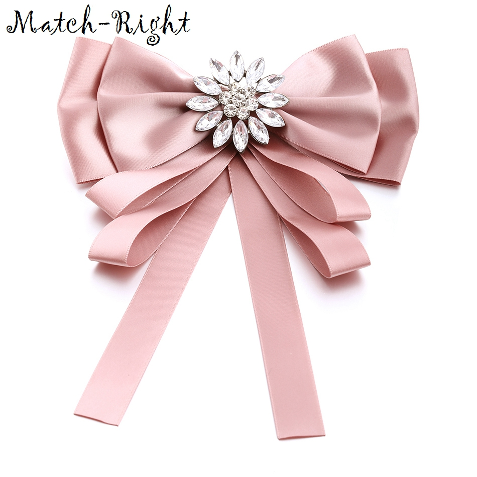Match-Right Woman & Man Brooches Long Ribbon Big Stripe Bowknot Shirt's Bow Tie Pins Collar Accessories Brooch Jewelry SP274