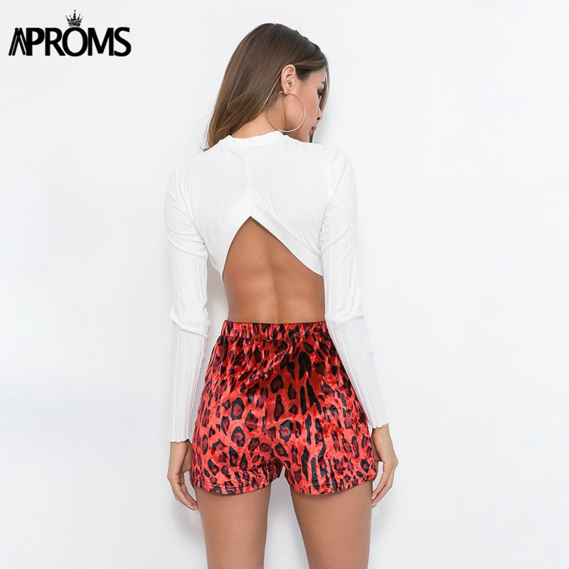 Aproms Elegant Leopard Print Velvet Shorts Women Sexy Lace Up Bodycon Slim Shorts High Waist Summer Streetwear Red Bottoms 2019