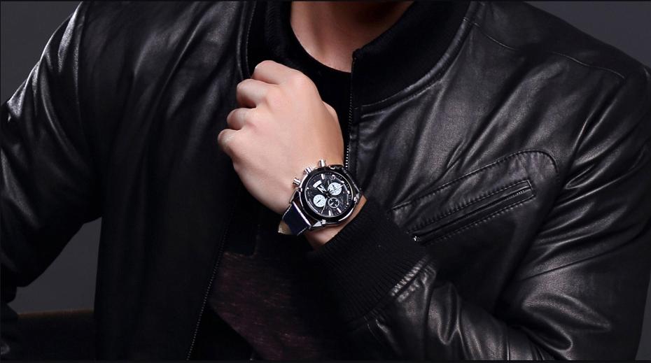 Topdudes.com - MEGIR Original Quartz Leather Business Chronograph Watch