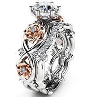 Neue Frauen Arbeiten Schmuck Handgemachte 10KT Weißes Gold Füllte Runde Cut 5A CZ Zirkonia Partei Finger Hochzeit Paar Braut Ring geschenk