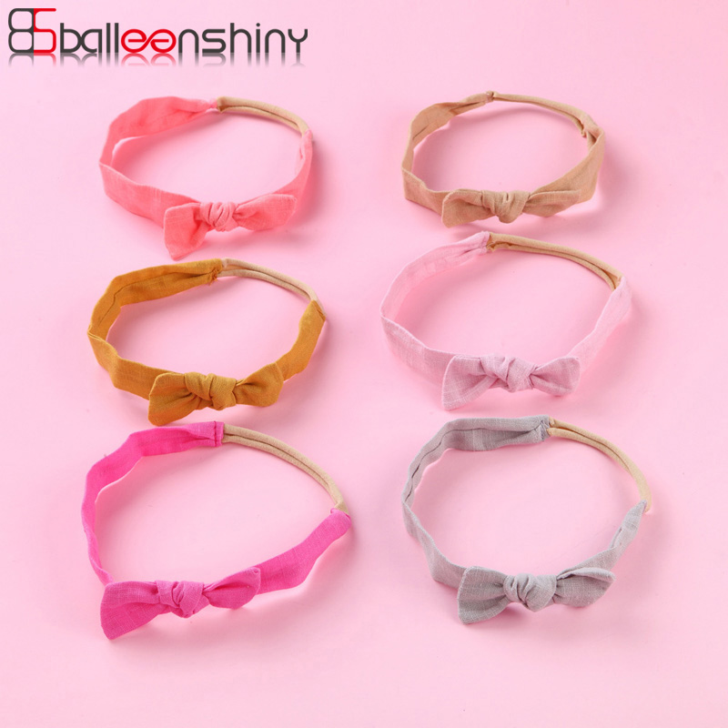 Balleenshiny 8colors Cloth Small Bow Infant Baby Headband 2019 Korean Version Of The New Children's Seamless Stretch Hair Band