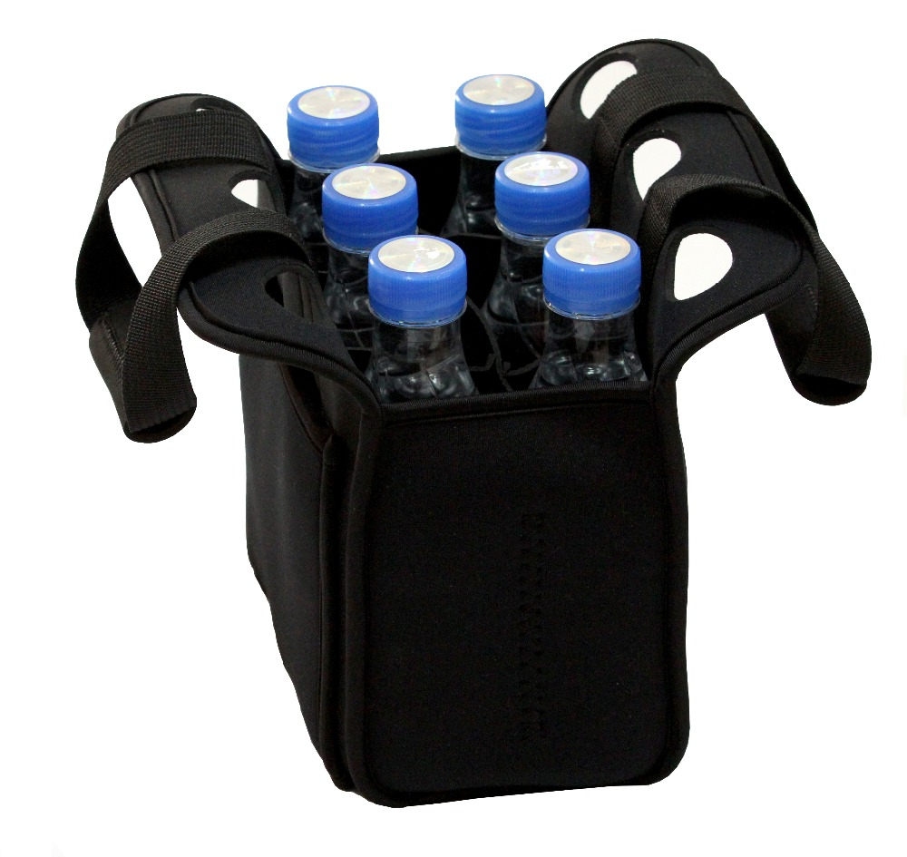 Neoprene insulated six pack beer bottle cooler, portable beer cooler bag