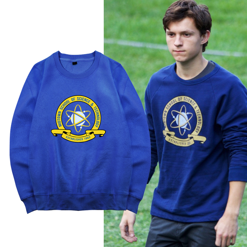 [STOCK] 2017 Movie Spiderman Homecoming Blue Fleece Pullover Peter cosplay Sweatshirt For Halloween Unisex S-XXL Free Shipping