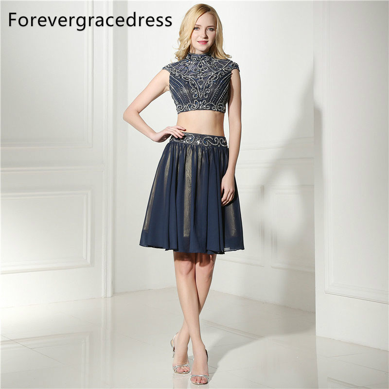 Forevergracedress Real Photos Navy Blue   Cocktail     Dress   Sexy High Neck Chiffon Knee Length Short Homecoming Party Gown Plus Size