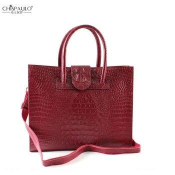 12f0dae6eca0 CHISPAULO модная женская сумка из натуральной кожи аллигатора, сумки на  плечо брендовые винтажные женские сумки