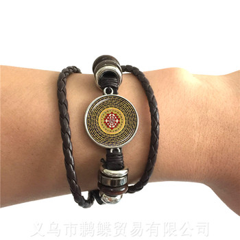 The Buddhism OM Symbol India Mandala Flower Bracelet Zen Picture Glass Cabochon 2 Color Leather Cords Adjustbale Bangle image