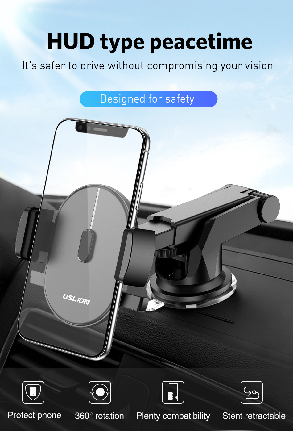 USLION Car Phone Holder in Car For Samsung S10 S9 S8 360 Rotation Car Holder For iPhone X XS MAX Stand Support Windshield Mount