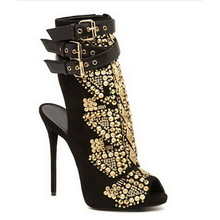 Charismatic Women Gold Rivets Studded Ankle Boots Sexy Thin High Heels Buckle Strap Botines Peep Toe Gladiator Boots Women