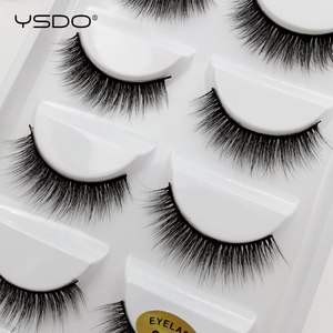 Image 2 - YSDO 5 זוגות 3D מינק ריסים טבעי שיער ארוך 100% דרמטי עין MakeupFake ריסים פלאפי Cilios ריסים G803
