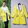 Новый Европейский Повелительница Желтый Зима Шерстяное Пальто Бренд Качества Дизайн Шерстяные Пальто Женщин Пальто Модный Топ Теплая Одежда