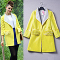 New European Fashion Lady Winter Yellow Wool Coat Brand Quality Design Woolen Overcoat Women Coats Trendy Top Warm Clothes