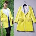 Nueva Dama de La Moda Europea de Invierno Amarillo Abrigo de Lana de Diseño Abrigo de Lana Mujeres Abrigos de Moda de Calidad Superior de la Marca Ropa de Abrigo
