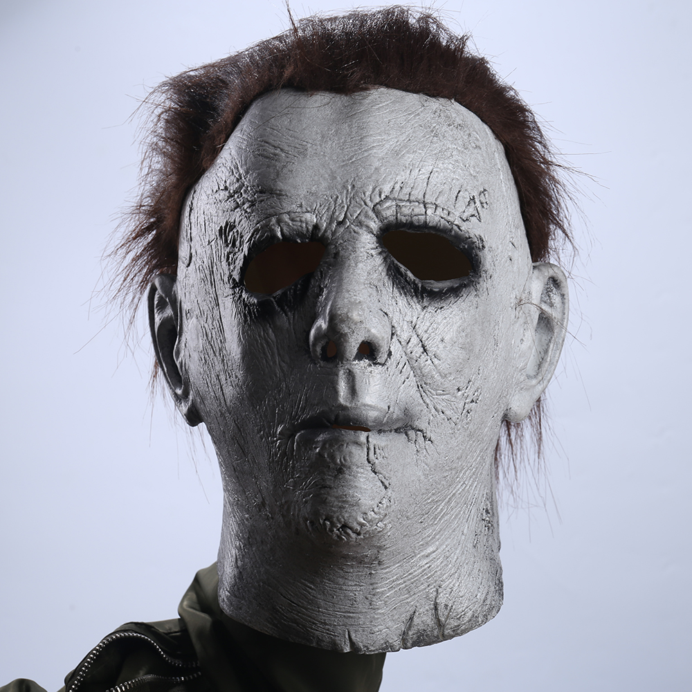 Takerlama New Horror Movie Michael Myers Mask with Hair Adult Party Masquerade Cosplay Myers Mask Full Head Latex Mask Halloween