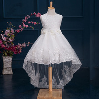 White Flower Girls Dress SleevelessTulle Lace Long Tail Wedding Bridesmaid Pageant Party Floral Bow Kids Children