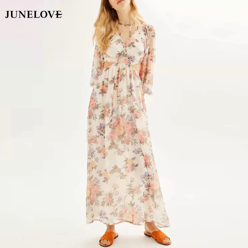 JuneLove 2018 new fashion women print dress leak waist long print dress sweet sexy casual floral female print dress