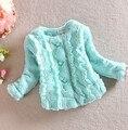 Infants Kids Girls Faux Rabbit Fur Coat Long Sleeve Outerwear Jacket 1-4Y L07