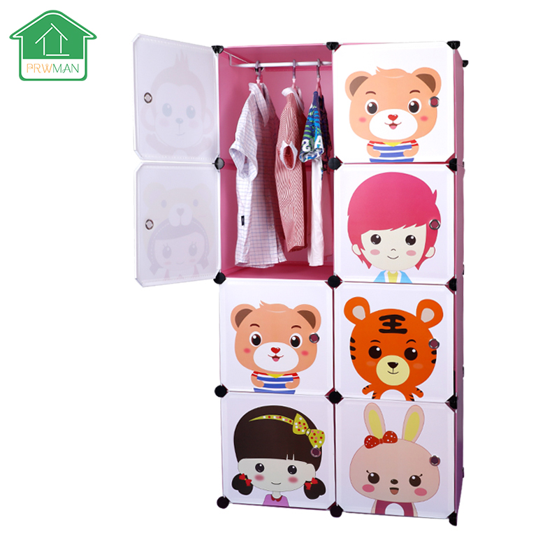 PRWMAN 8 Cube 1 Hook Cartoon Pink DIY Magic Piece of Resin Storage Cabinets Bedroom Wardrobe Furniture Assembly Student Wardrobe 2017 new children s cartoon plastic assembly simple wardrobe lockers storage cabinets resin composition baby for kit child