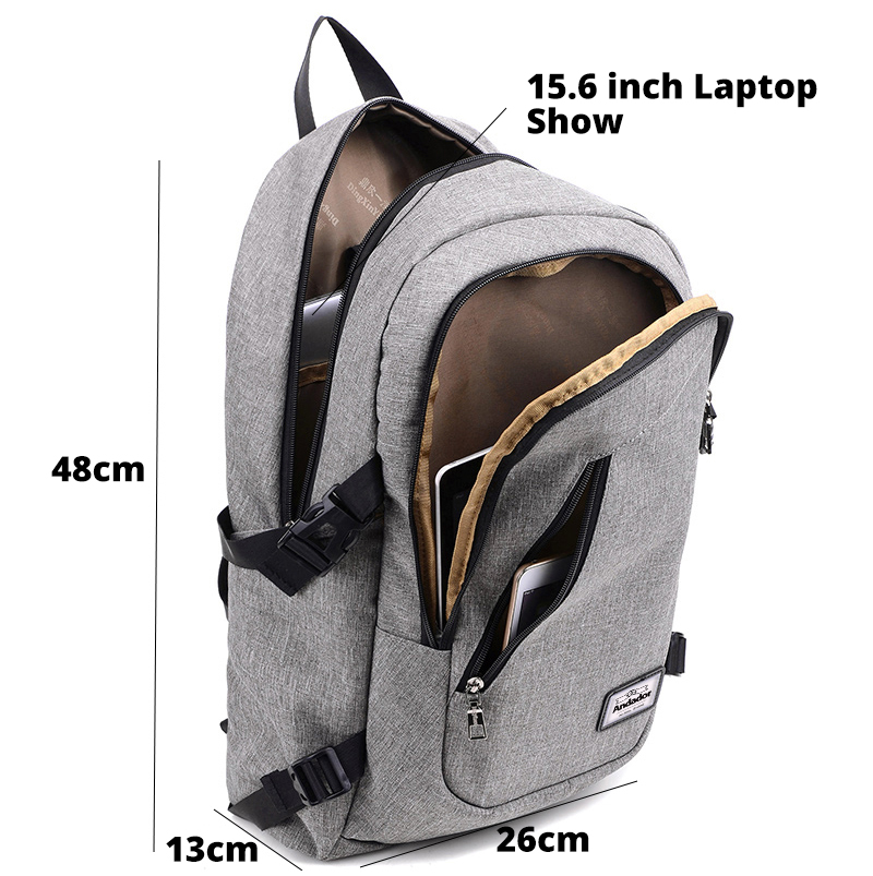 Image 2 - Fashion man laptop backpack usb charging computer backpacks casual style bags large male business travel bag backpack-in Backpacks from Luggage & Bags