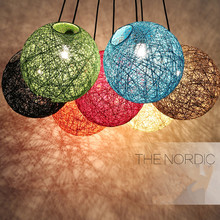 Hemp Ball led Pendant Lights Modern Rattan hanging Light Colourful Restaurant Ceiling Pendant Lamp Home Decor lighting fixtures decorative christmas gift colorful balloon kids child ceiling acrylic cute pendant lights lamp lighting round ball hanging light