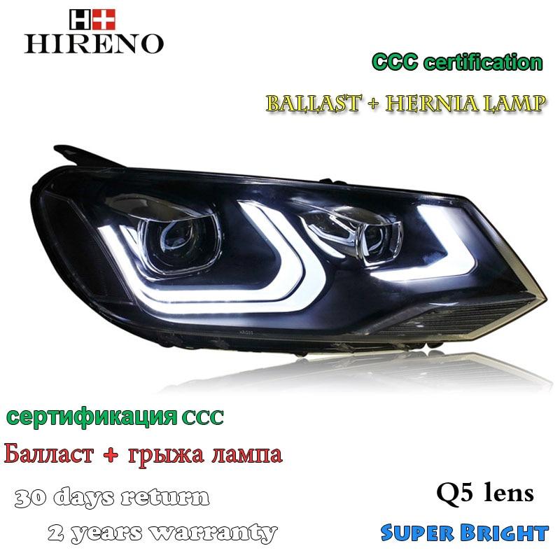 Hireno Headlamp for 2011-2013 Volkswagen Touareg Headlight Assembly LED DRL Angel Lens Double Beam HID Xenon 2pcs hireno headlamp for 2003 2006 volkswagen touran headlight assembly led drl angel lens double beam hid xenon 2pcs