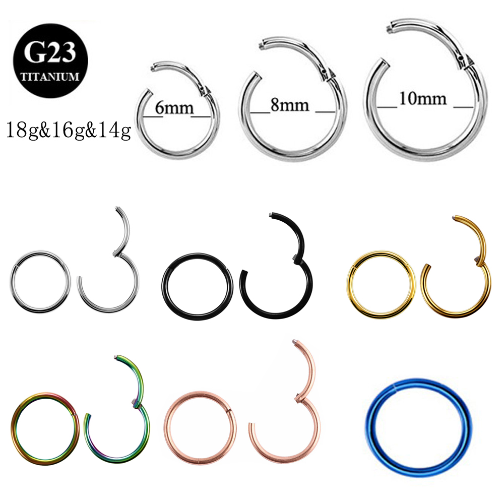 1Piece G23 18g& 16gTitanium Segment Hinged Rings Septum Nose Clicker Piercing Nose Lip Earrings Helix Nose Piercing Body Jewelry(China)