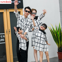 New Arrival Family Matching Clothes Girl Dress For Mother And Daughter Plaid Boy Shirt For Dad