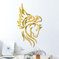 Flying Horse Mirror Wall Stickers Muursticker Home Decor Living Room Wall Stickers For Kids Rooms Acrylic