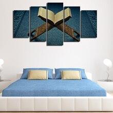 Promocja 5 sztuk z nowoczesnym nadrukiem islamski muzułmanin Allah koran ozdoby do dekoracji wnętrz na obraz do salonu na płótnie plakat artystyczny