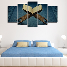 Promotion 5 Pieces Modern Printed Islamic Muslim Allah Quran Art Home Decor For Living Room Painting On Canvas Wall Art Poster