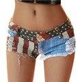 Mujeres agujero Hip Hop Denim cintura baja Sexy corto bandera americana Mini Jeans pantalones moda de verano 2016 pantalones cortos vaqueros mujer 01C0057
