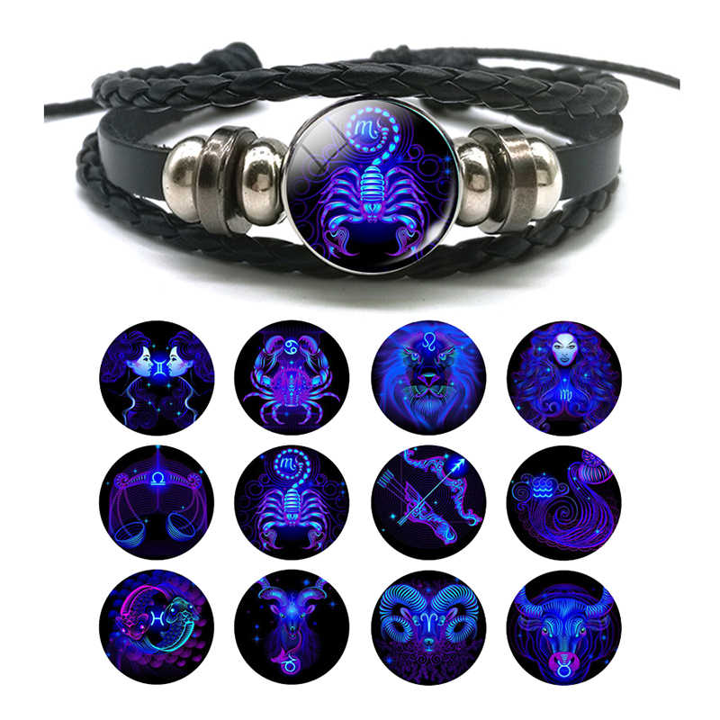 DropShiping Gemini Cancer Leo Virgo Libra Scorpio 12 Constellation Black punk Leather Bracelet Zodiac Bracelet for Men Women