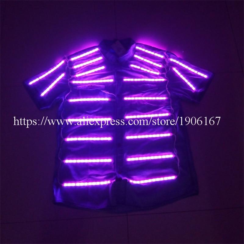 Newest Led Luminous Shirt Ballroom Costume Dancing Clothes LED Growing Lighting Men font b Clothing b