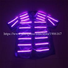 Новый СВЕТОДИОДНЫЙ Световой рубашка Костюмы для бальных танцев костюм Одежда для танцев светодиодные растущий Освещение Для мужчин Костюмы для DJ Бар событие для вечеринок