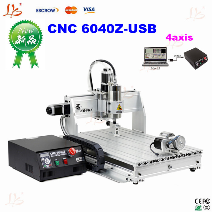 Metal milling machine 4 axis CNC router 6040, with 1.5KW spindle USB port, cnc 3d engraver for wood metal 500w mini cnc router usb port 4 axis cnc engraving machine with ball screw for wood metal