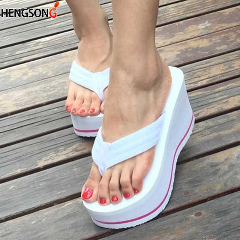 cdf367206d5f73 Women Beach Flip Flops edge Platform Shoes Summer Slippers For Women Shoe  High Heels Beach Sandals
