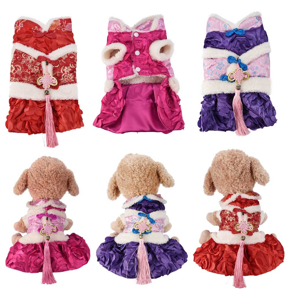 Small Dogs Dress Clothes For Little Dogs Dog Dress Tang Suit Small Pet Cat Skirt Clothes Puppy Winter Apparels S-XXL