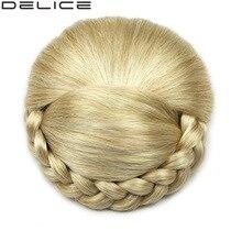 [DELICE] женщин Плетеные Клип В Высокая Температура Волокна Синтетические Волосы Булочка DH103, блондинка, черный