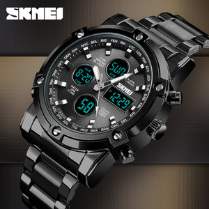 Image 2 - SKMEI Digital Quartz Watch Men Outdoor Sports Countdown Waterproof Stainless Steel Strap Wristwatch Men Clock Relogio Masculino