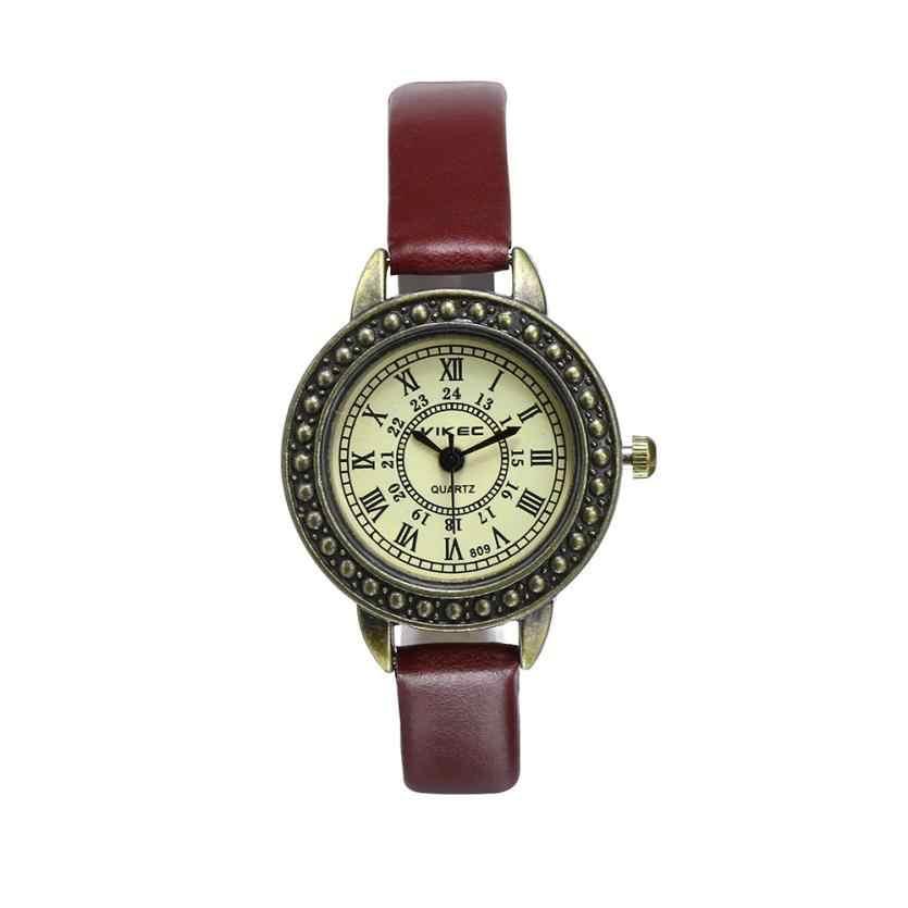 Rzym Vintage mała tarcza kobiety zegarek kwarcowy skórzany pasek panie luksusowy szczupły zegarek reloj mujer # TX4
