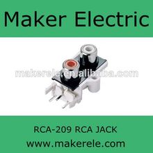 2 pin multi rca connector RCA-209 WenZhou AV female connector Audio & Radio pin jack to RCA(China)