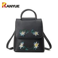 Brand Embroidered Backpack Women Leather Backpack School Bags For Teenage Girls Vintage Flower Women Backpack Travel