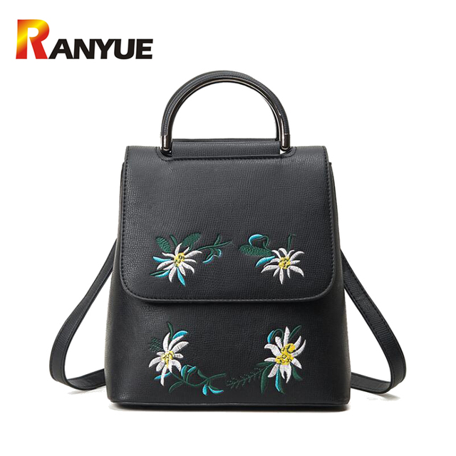 d9aad19a421a Brand Embroidered Backpack Women Leather Backpack School Bags For Teenage Girls  Vintage Flower Women Backpack Travel