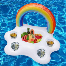 Pool party family enjoy beach style rainbow cloud wine cola beer drink cushion inflatable water ice bar swim ring
